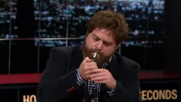 Zach Galifianakis Smokes a Joint on HBO's Real Time With Bill Maher (Video) | Third Monk image 1