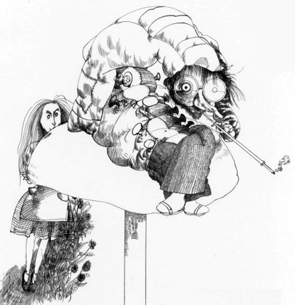 ralph-steadman-art-gallery-alice-in-wonderland-caterpillar