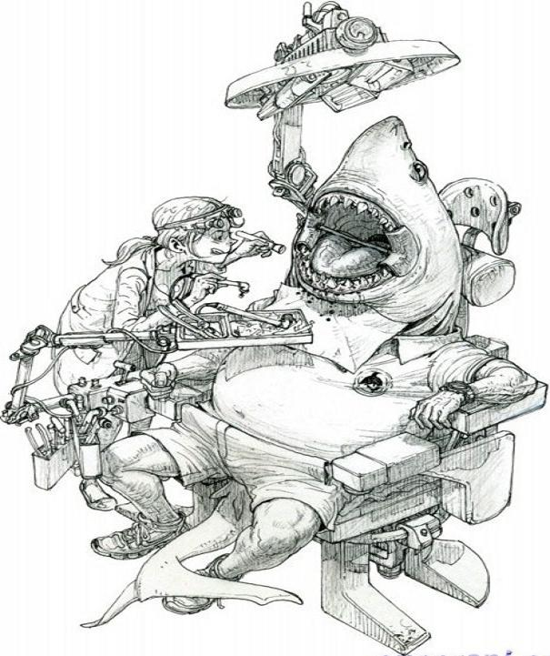 Kim Jung-Gi-sketch-art-photo-gallery-shark-dentist