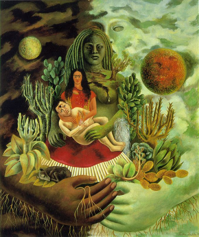 The Love Embrace of the Universe, the Earth (Mexico), Me, and Senor Xolotl 1949 Oil on canvas