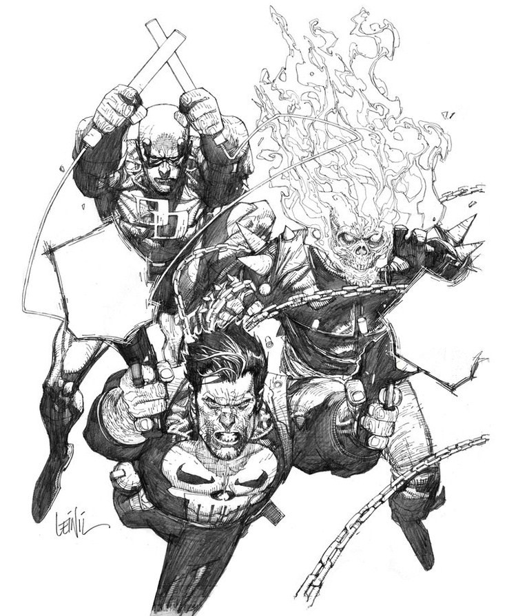 Leinil-Yu-comic-art-gallery-punisher-daredevil-ghost-rider