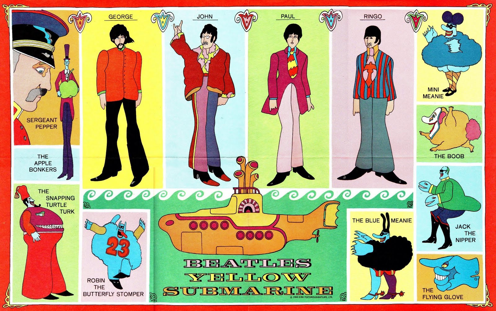 BEATLES YELLOW SUBMARINE COMIC POSTER - Trippy Stoner Films