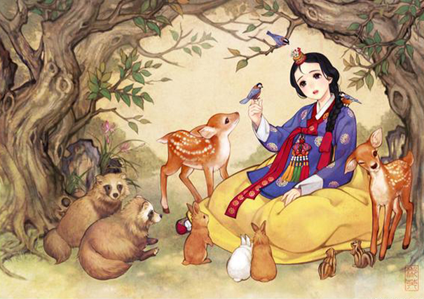 Shiny, pretty, happy things Asian-korean-disney-remake-illustration-na-young-wu-1